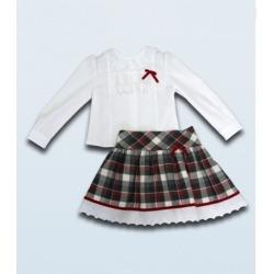 Conjunto camisa y falda cuadros