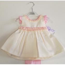 vestido bebe puntilla rosa