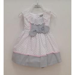 Vestido bebe lunares cuello puntilla