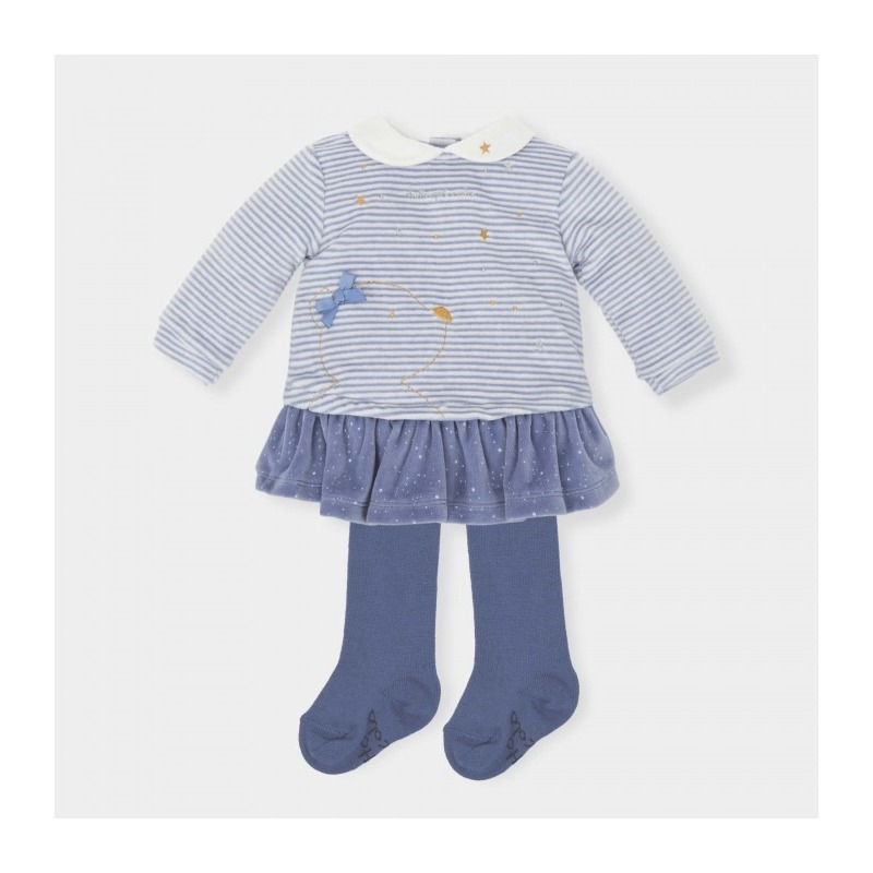 Vestido bebe rayas con leotardos - Moda Infantil Andy 6085cf0ea552