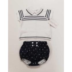 Conjunto punto y tela bebe niño Navy
