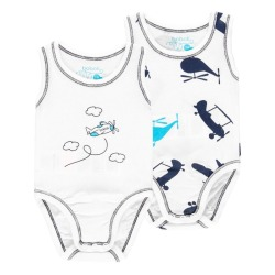 Pack 2 bodys de bebé niño Boboli