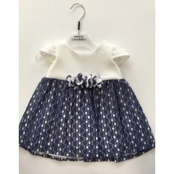 Vestido bebé blanco y azul