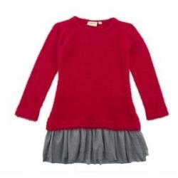 Vestido de tricot con bajo tul ubs2