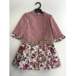 Vestido niña manga larga falda con flores