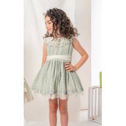 Vestido bordado combinado con tul Nekenia