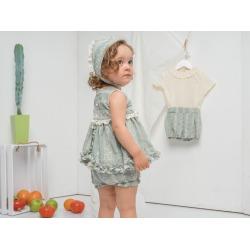 Vestido bebe bordado con capota y pololo