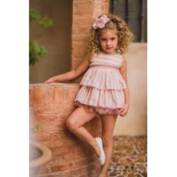 Vestido bebe con braguitas rayas rosas Zoe Kiss
